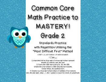 Common Core Math Practice to Mastery! 2nd Grade 2.NBT.1, 2