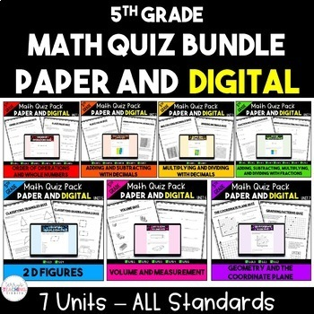 5th Grade Math Quiz Bundle