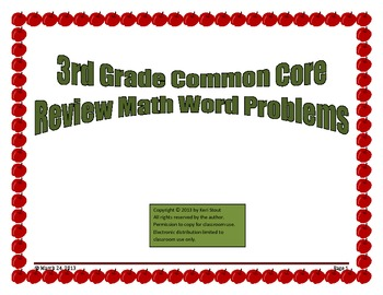 Common Core Math Review Word Problems