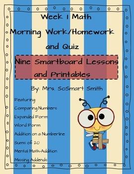 Week 1 Math Spiral Morning Work/Homework Bundle