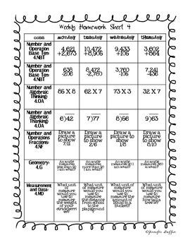 Common Core: Math Standards: Week 4 Math Homework