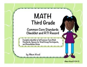 Common Core Math Standards and RTI Checklist Third Grade