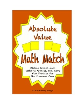 Common Core Math Stations and Games - Absolute Value Math Match