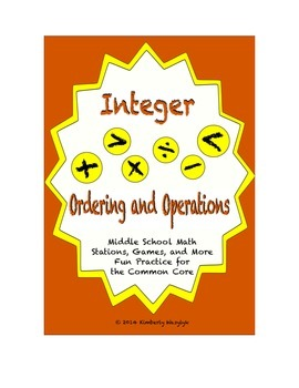 Common Core Math Stations and Games - Integers Ordering an