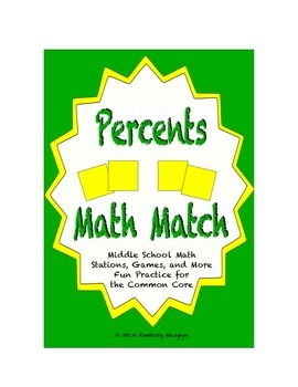 "Common Core Math Stations and Games - ""Math Match"" Percent"
