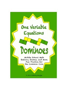 Common Core Math Stations and Games - One-Variable Equatio