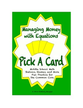 Common Core Math Stations and Games - Pick-a-Card Managing