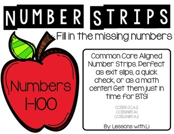 Common Core Math Strips - Counting On