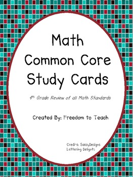 Common Core Math Study Cards for Testing Review *4th GRADE