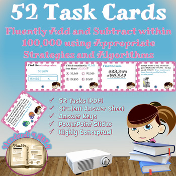 Common Core Math Task Cards - 4.NBT.4: Fluently Add and Su