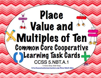 Common Core Math Task Cards 5th Grade- Place Value & Multi
