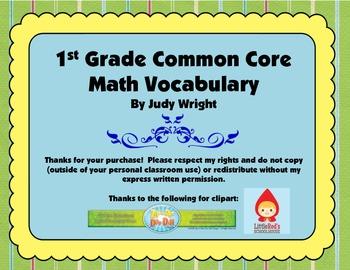 Common Core Math Vocabulary: 1st Grade