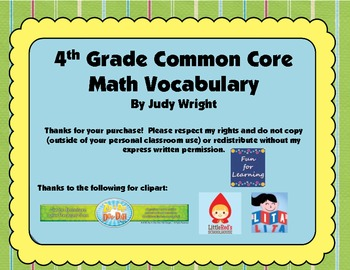 Common Core Math Vocabulary: 4th Grade