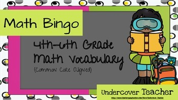 Common Core Math Vocabulary Bingo Game (6 different boards