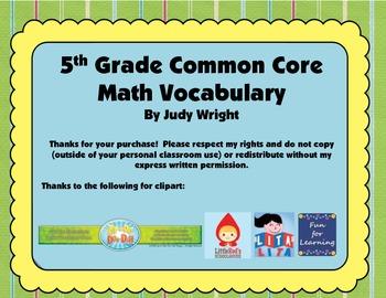 Common Core Math Vocabulary: 5th Grade