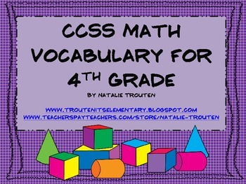 Common Core Math Vocabulary for 4th Grade