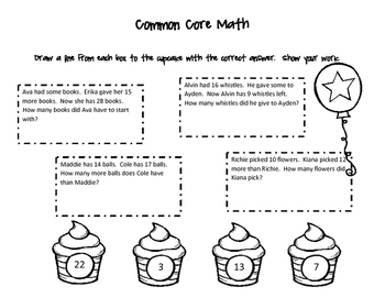 Common Core Math Word Problem Worksheet