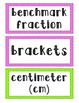 Common Core Math Word Wall Vocabulary Fifth Grade