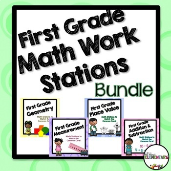 First Grade Math Work Stations Bundle CCSS
