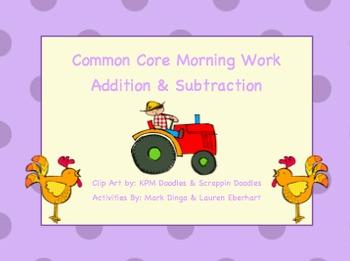 Common Core Morning Work (1st Grade) Farm Math (Addition &