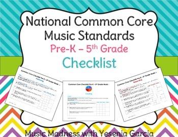 Common Core Music Standards Checklists - Elementary School