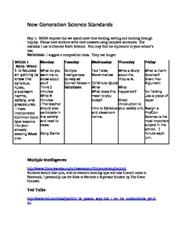Common Core New Generation Science Standards Earth Science