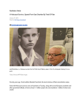 Common Core Nonfiction Article with Questions for Holocaus