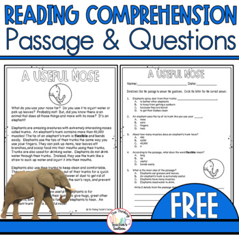 Common Core Nonfiction Reading Passage 2nd and 3rd Grade -