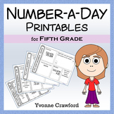 Number a Day Math Printables (fifth grade)