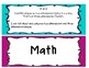 Common Core Objectives and I Can Statements- Kindergarten
