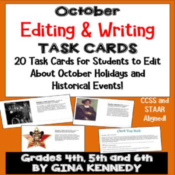 "October Themed ""Daily Editing"" Writing Task Cards, Fun His"