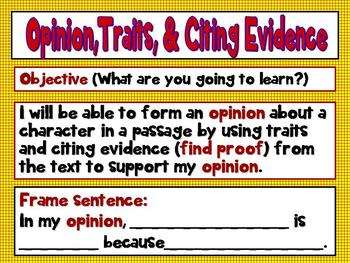 Common Core 3rd, 4th Grade Opinion, Traits, and Citing Evi