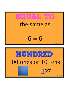 Common Core Place Value Word Wall Cards--First Grade