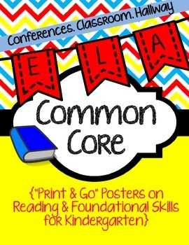 Common Core Poster Packet {Kindergarten Reading: Foundatio