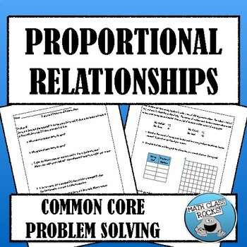 Common Core Problem Solving - Proportional Relationships (
