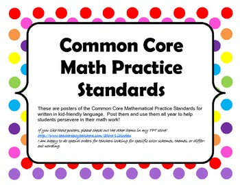 Common Core Math Practice Standards Posters
