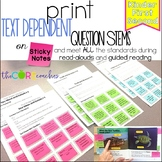 Common Core Question Stem Sticky Notes: K-2