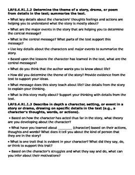 Common Core Question Stems for 2nd grade Reading Literatur