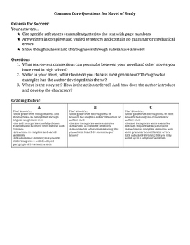 Common Core Questions for Novel
