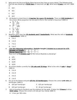 Common Core - Ratio, Proportion, Unit Rate Summative Assessment