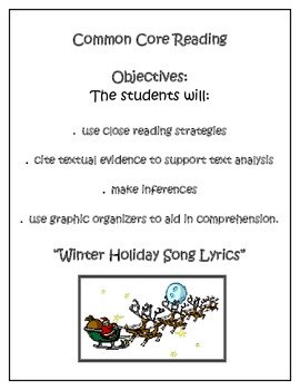 Common Core Reading HIGH INTEREST CHRISTMAS SONG LYRICS -