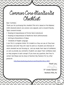 Common Core Reading & Language Checklist