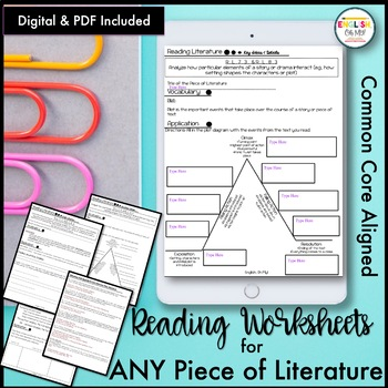 Reading Worksheets-ANY LITERATURE, Common Core
