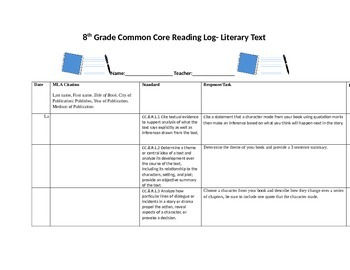Common Core Reading Log-8th Grade