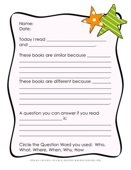 Common Core Reading Response Activity