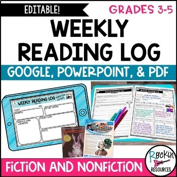 WEEKLY Reading Response Log for Fiction and Non Fiction