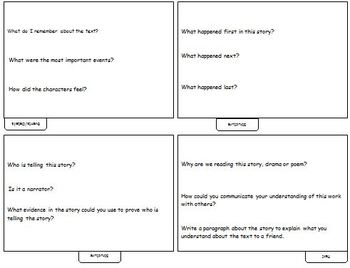 Common Core: Reading Response Prompts Tabbed