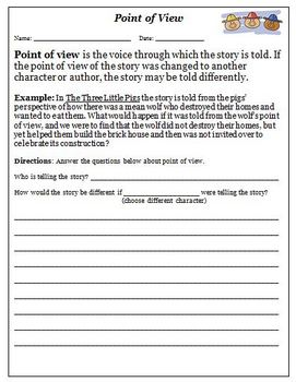 5th Grade point of view worksheets 5th grade : Collection of Character Point Of View Worksheets - Sharebrowse