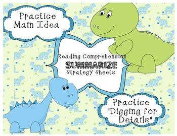 Common Core Reading Summarize  Strategy- Dinosaurs Main Idea