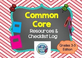 Printable Common Core Resource Log/Checklist Grades 3, 4, and 5